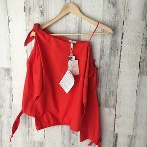 Joie Colissa One Shoulder Cotton Tie Blouse